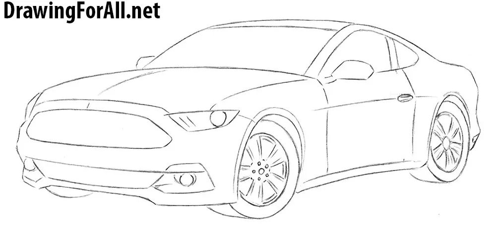 mustang logo drawing easy