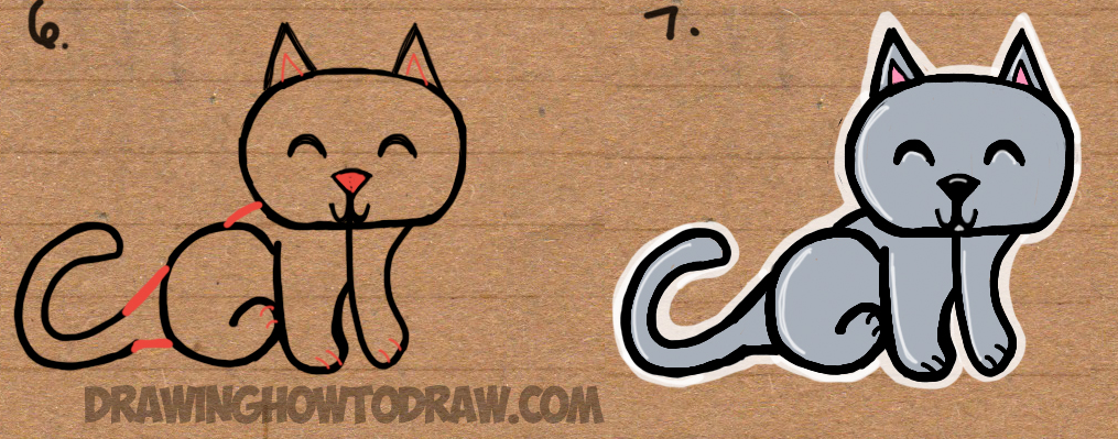 How To Draw A Cat From The Word Cat Easy Drawing Tutorial