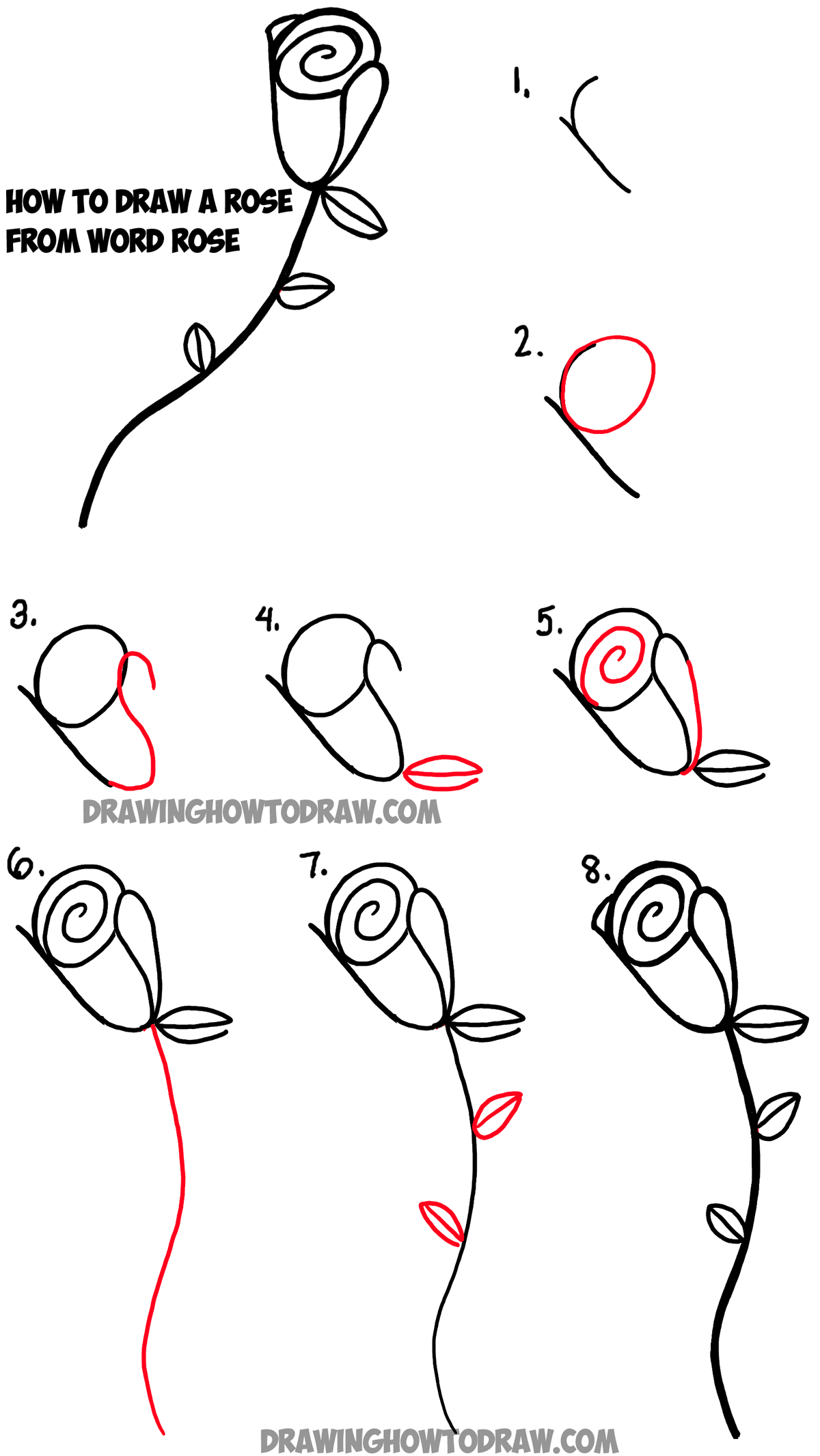 How To Draw Roses From The Word Rose With Easy Step By Step Tutorial How To