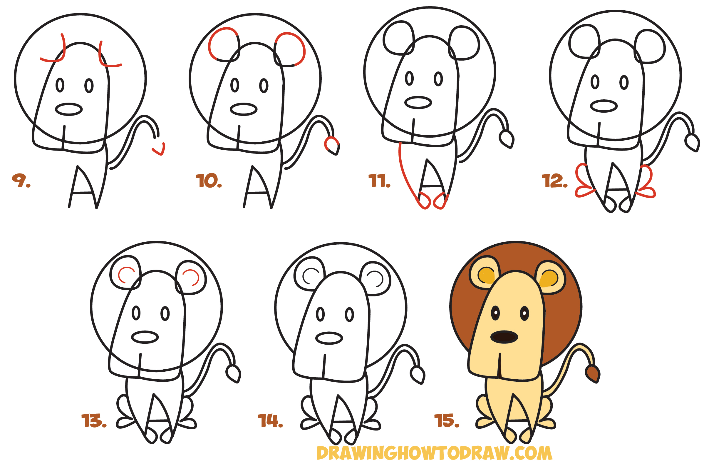 Learn How To Draw Cartoon Lion From The Word Simple Steps Drawing Lesson  For Kids