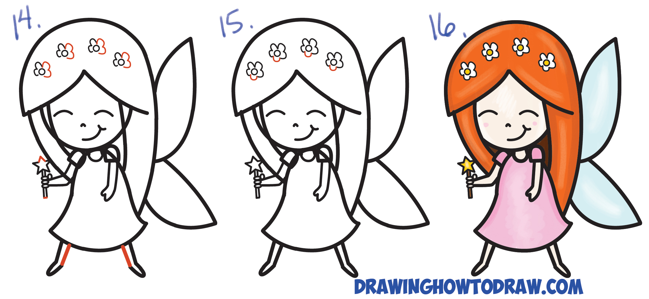 Learn How To Draw A Cute Cartoon Fairy Kawaii Chibi From Letter K Step By  Step