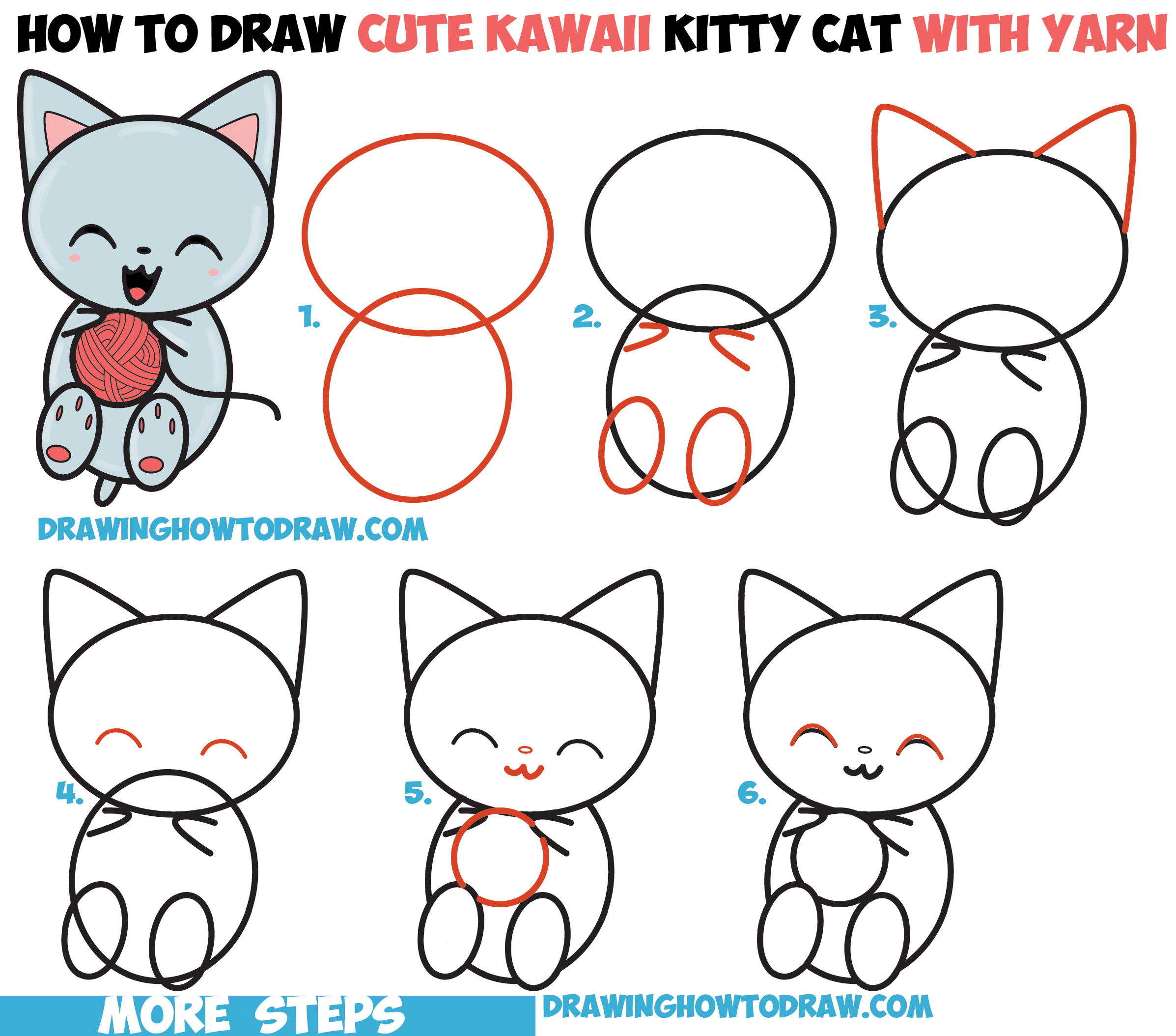 How To Draw Cute Kawaii Kitten Cat Playing With Yarn Easy Step By Step Drawing  How