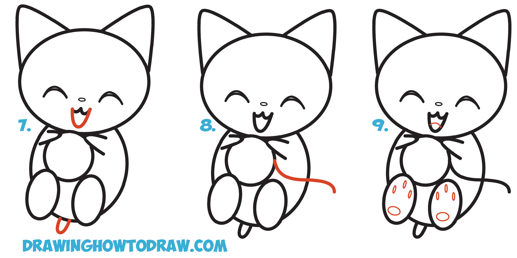 Learn How To Draw Cute Kawaii Chibi Cartoon Kitten Cat Playing With Yarn  Step By Step
