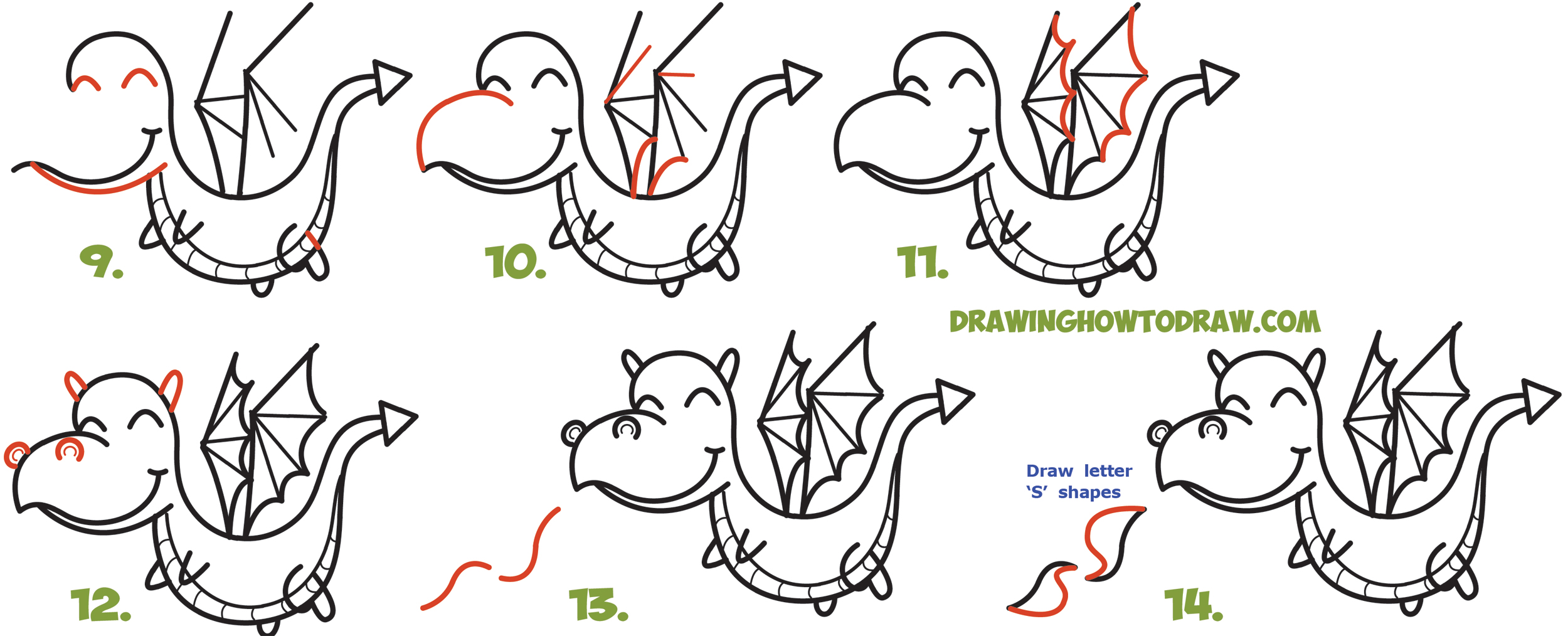 How To Draw A Cute Kawaii Chibi Dragon Shooting Fire With Easy Step By Step  Learn