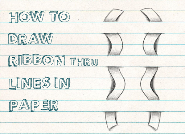 How to Draw Optical Illusion for Kids - Draw a Ribbon Woven Through