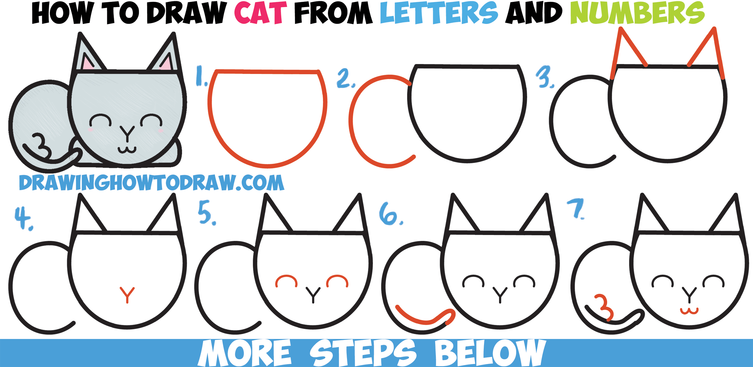 How To Draw A Cute Cartoon Cat Completely From Letters