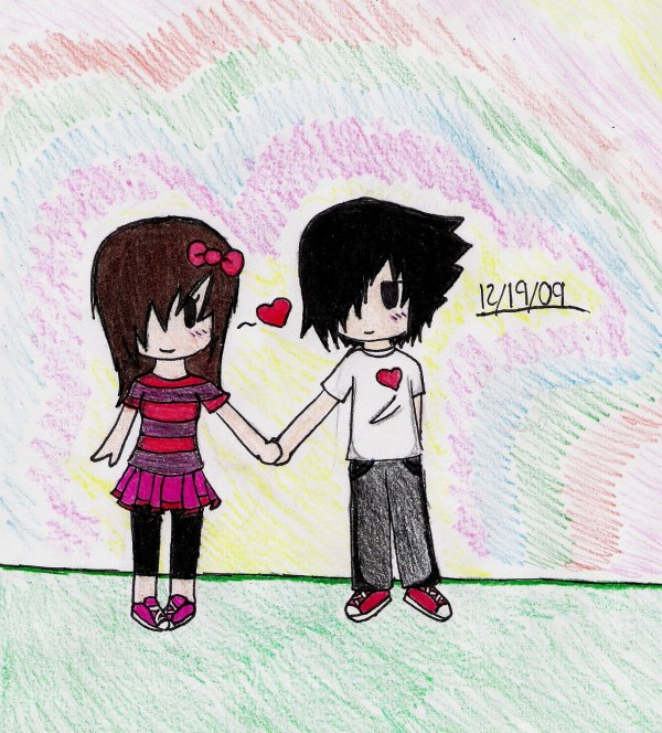 chibi emo couple by reignxa cartoons comics traditional media cartoons. 1375 x 1523.Emo Guy Hairstyles Tumblr
