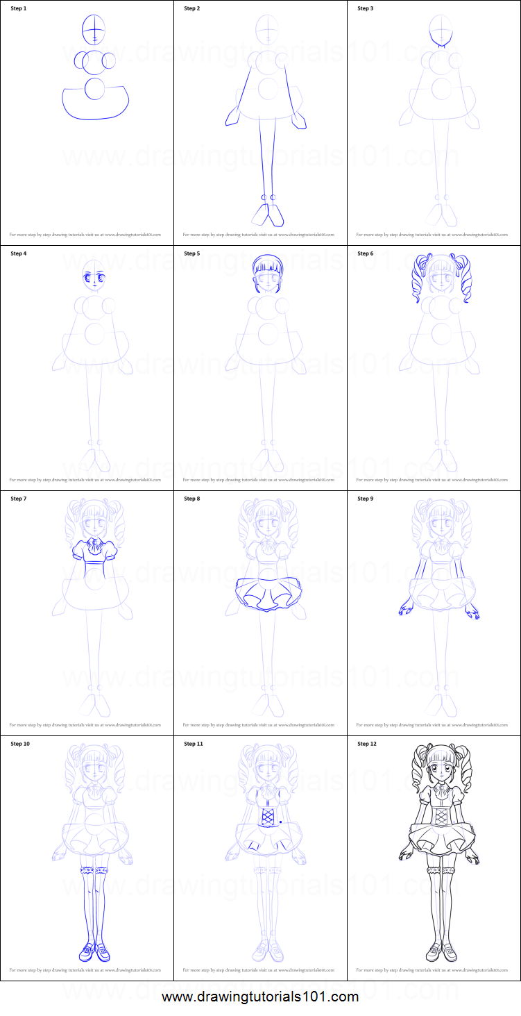 Step by Step Drawing tutorial on How to Draw Yurika Toudou from Aikatsu!