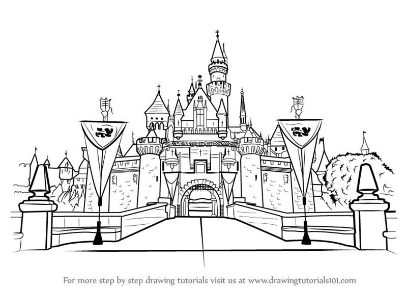Step By Step How To Draw Disneyland Castle
