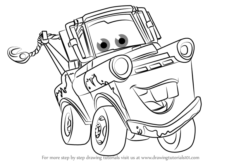 Learn How To Draw Tow Mater From Cars 3 Cars 3 Step By