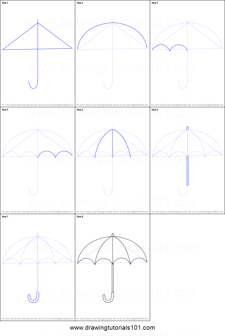 step by step drawing tutorial on how to draw an umbrella