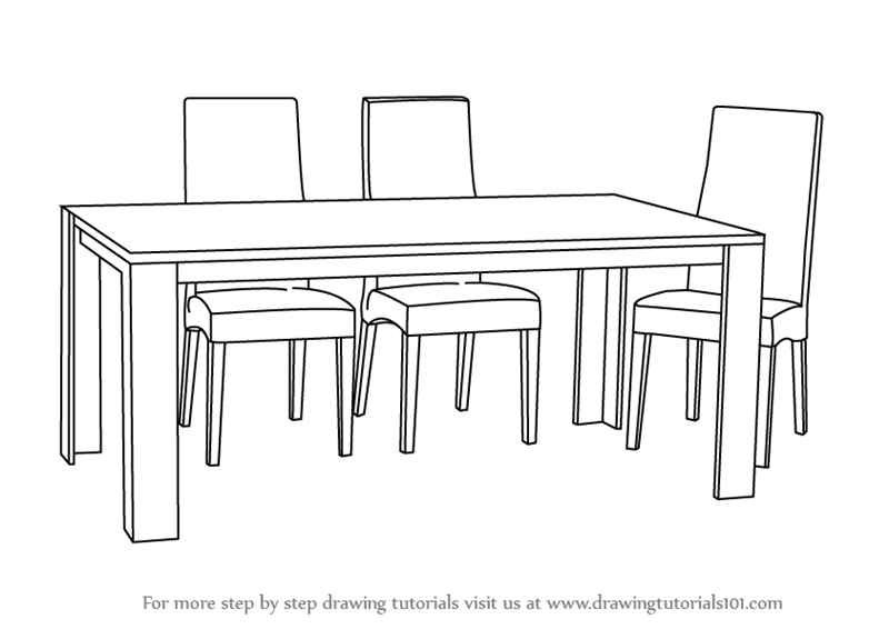 Learn How To Draw Dining Table With Chairs Furniture