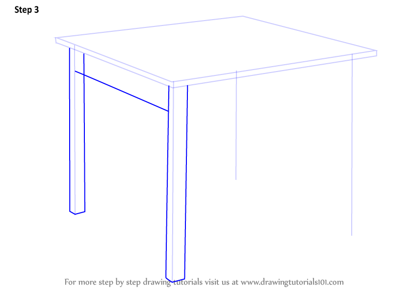 Learn How To Draw A Table Furniture Step By Step