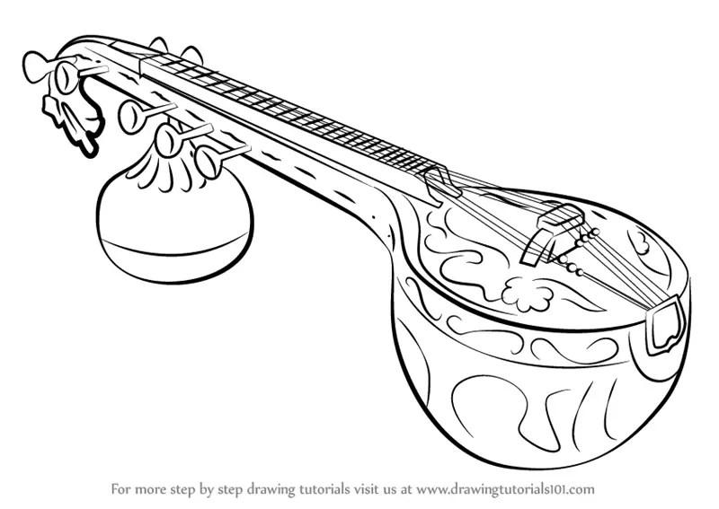 Step By Step How To Draw A Veena Drawingtutorials101com