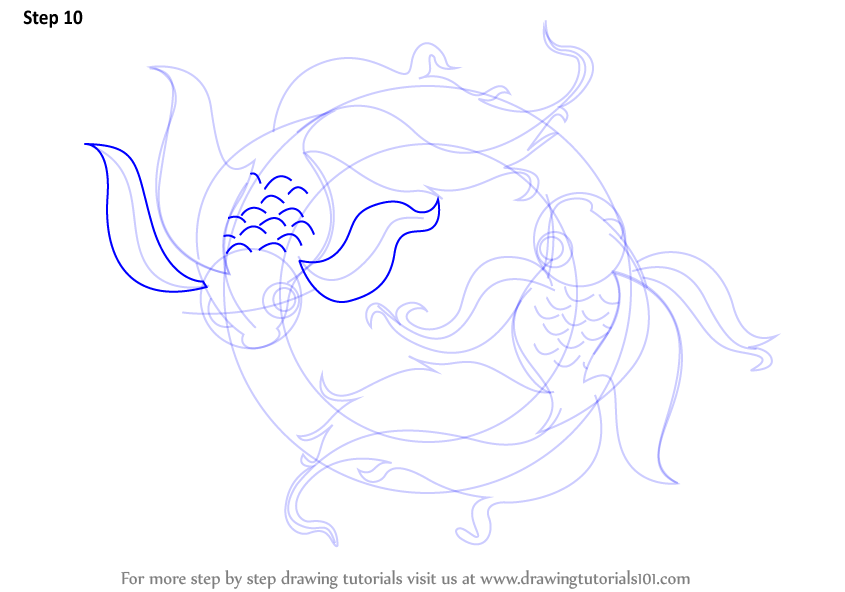 Step By Step How To Draw Pisces Zodiac Sign