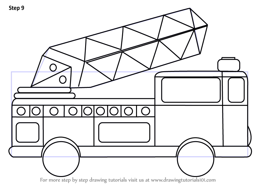 learn how to draw firetruck for kids trucks step by step
