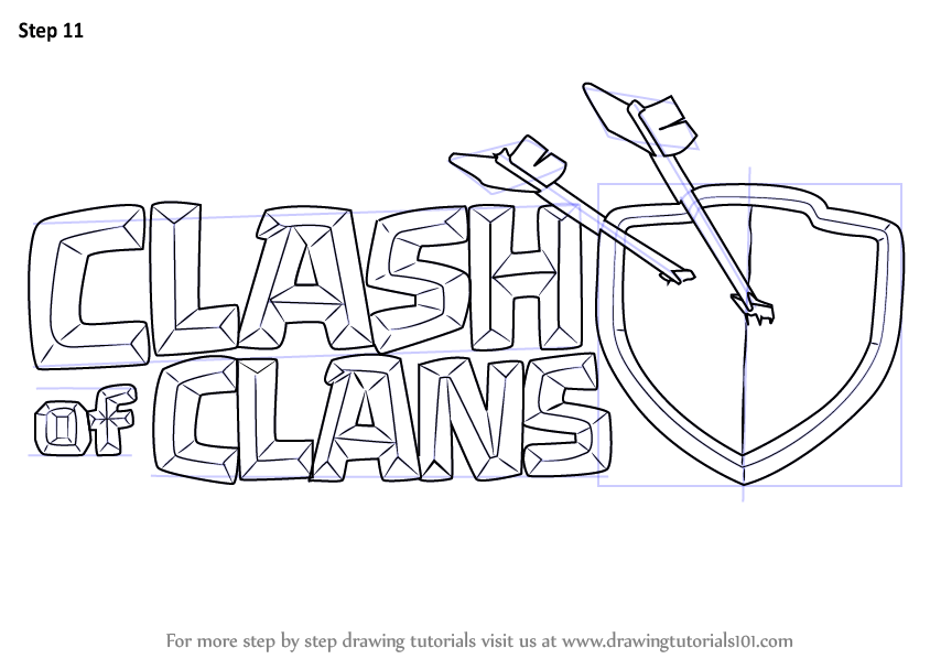 Step By Step How To Draw Clash Of Clans Logo