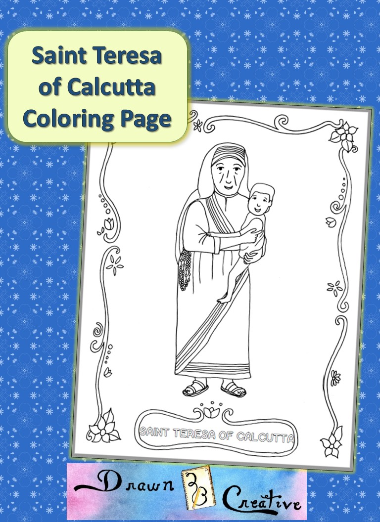 Saint teresa of Calcutta coloring page banner