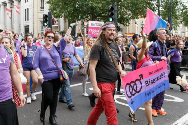 Bisexuals march at Pride in London.