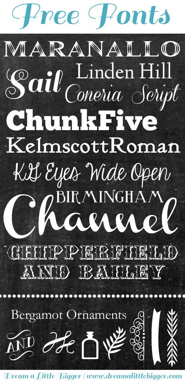 FREE Chalkboard Fonts - Dream a Little Bigger