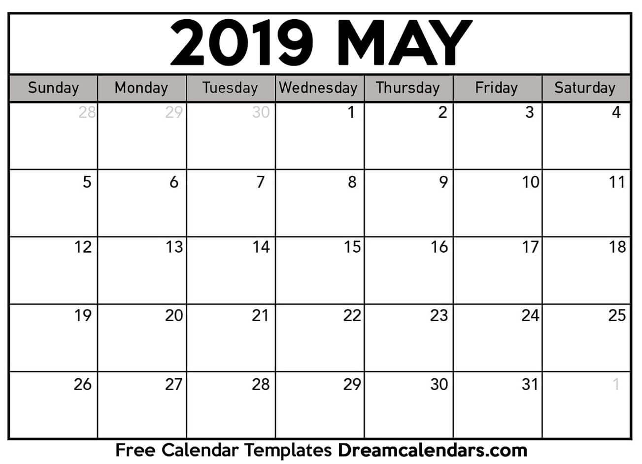 2019 calendar for may