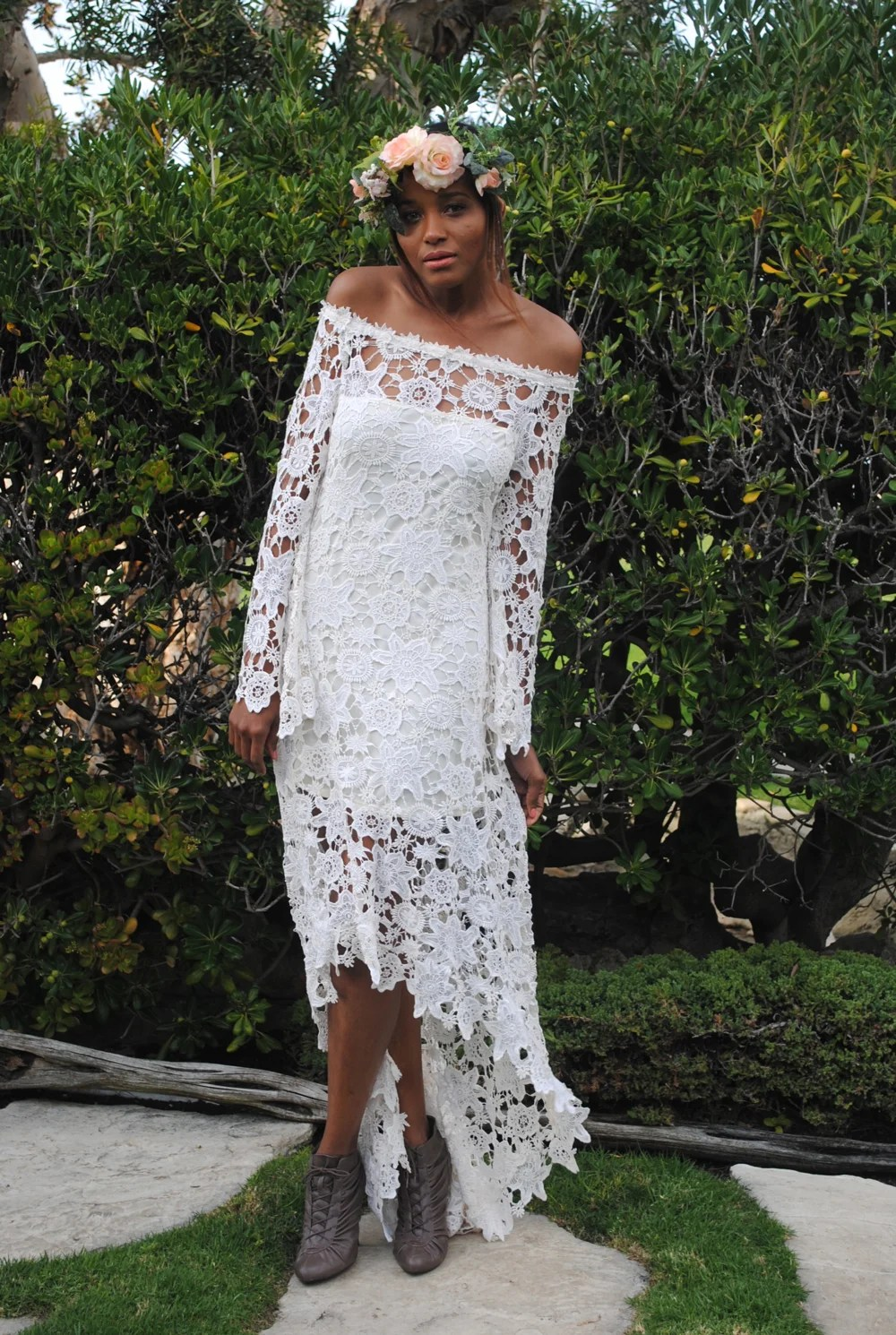 high low bohemian lace dress cowgirl wedding dresses hippie wedding dress off shoulder crochet lace with