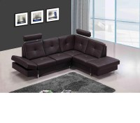 DreamFurniture.com - 973 - Modern Brown Leather Sectional Sofa