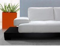 DreamFurniture.com - Modern White Leather Sectional Sofa