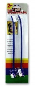 Dog Toothbrush Set: Double Sided Canine Dental Hygiene Brushes with Long 8 1/2 Inch Handles and Super Soft Bristles