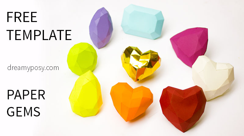 How to make 3D paper gems collection, FREE templates and tutorial