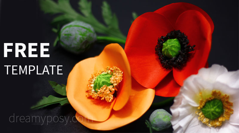 How to make Poppy paper flower from regular paper, FREE template