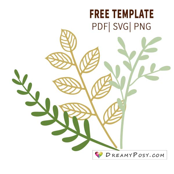 Leaves template, branch template, FREE PDF, SVG, PNG files