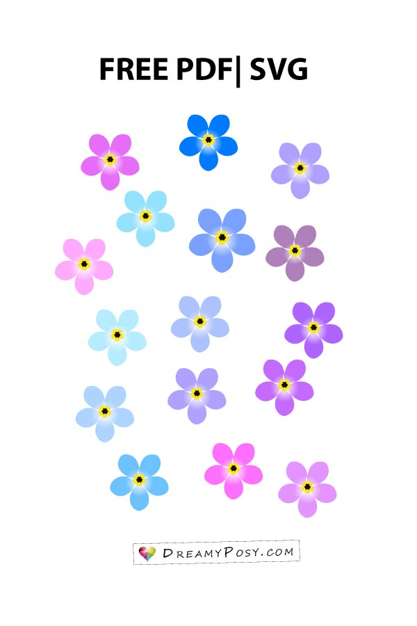 Flower templates, free PDF, SVG, PNG files, super easy tutorial