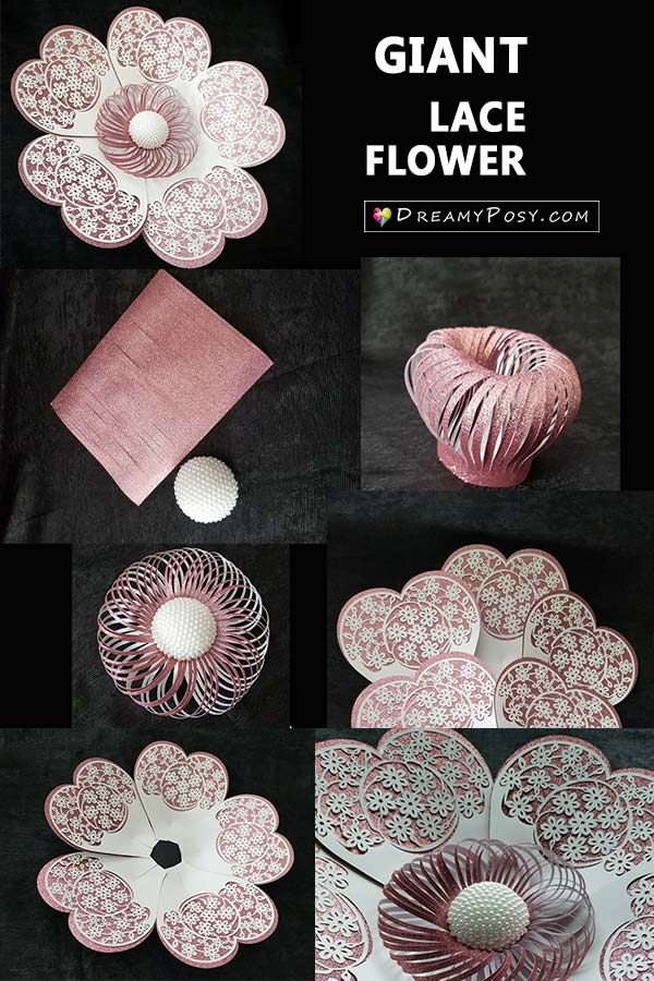 Giant paper flowers, step by step tutorial and templates