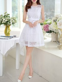 White Lace Korean Chiffon Short Dress for Cocktail Party ...