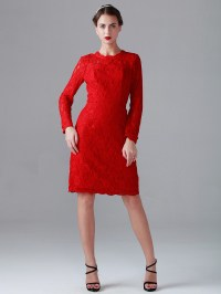 Red Lace Long Sleeve Evening Dress - Prom Dresses 2018