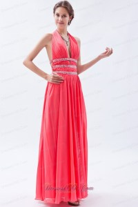 Halter Watermelon Empire Seventeen Prom Dress |Plus Size ...