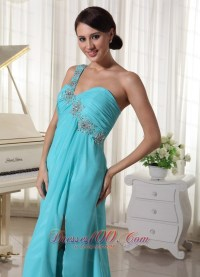 Beaded One Shoulder Aqua Seventeen Prom Dress |Prom ...