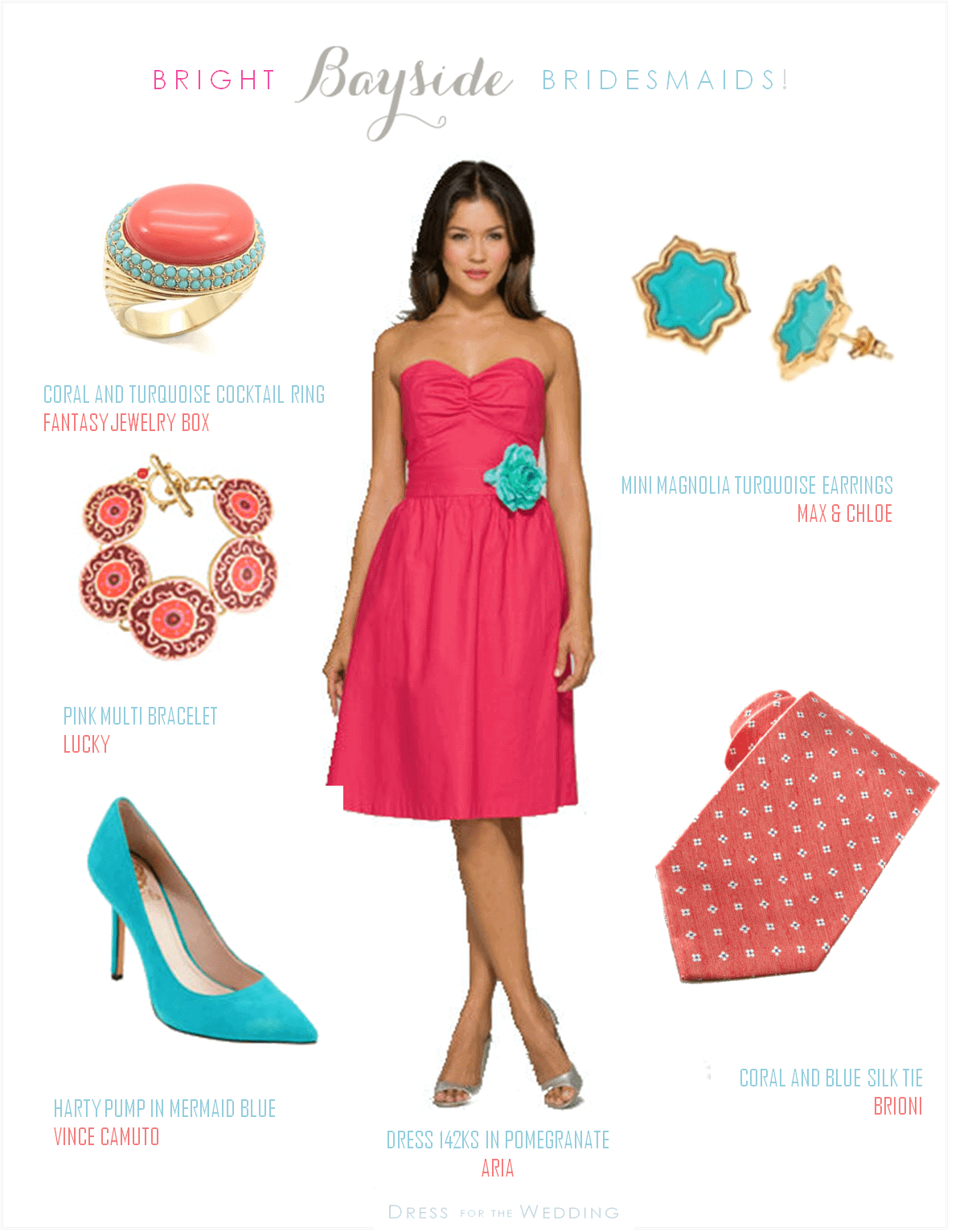 coral and turquoise wedding look turquoise wedding dresses Coral and Turquoise Wedding Look