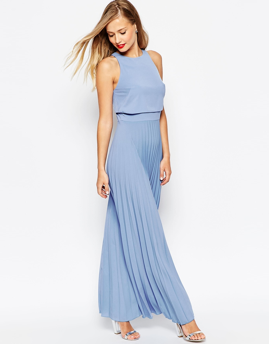 summer wedding guest dresses dresses for wedding guests Powder blue maxi dress with pleats