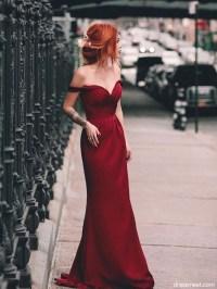 Charming Mermaid Off the Shoulder Burgundy Long Prom Dress ...