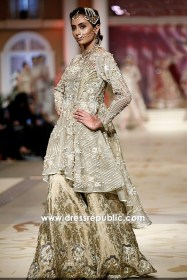 DR14492 - Pakistani Peplum Dresses 2018 With High Low Hemline