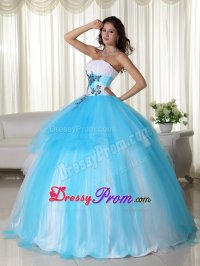 Embossed Fabric White and Aqua Blue Sweet 15 Birthday Dress