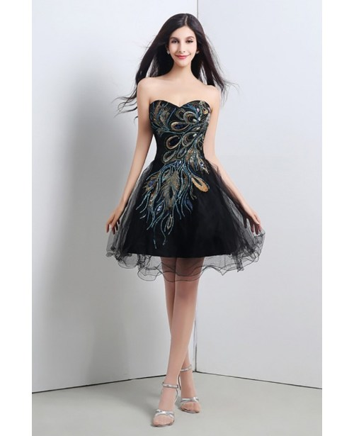 Mesmerizing Black Short Embroidery Homecoming Dress Juniors Homecoming Dresses Cheap Wedding Evening Cheap Prom Dresses Uk Under 50 Cheap Prom Dresses Online