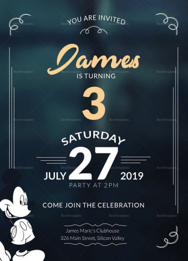 FREE Printable Mickey Mouse 1st Birthday Invitations Template FREE - mickey mouse birthday invitation template