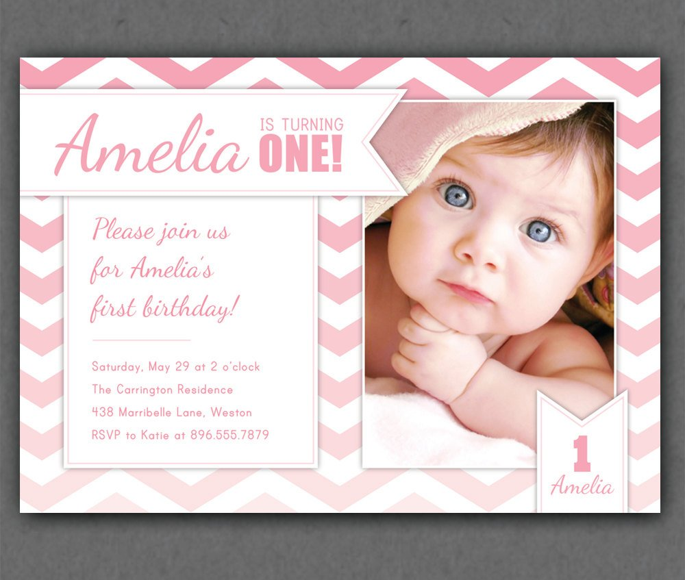 Free One Year Old Birthday Invitations Template Drevio