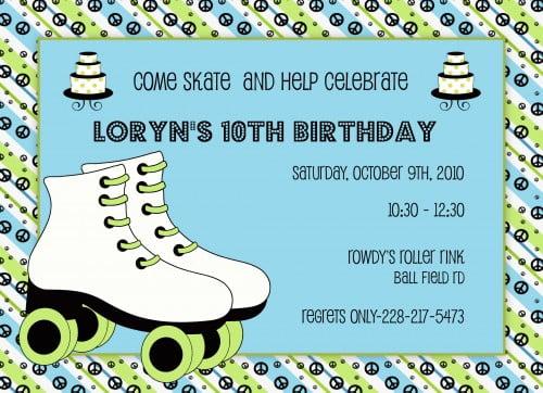 Roller Skating Birthday Invitations \u2013 gangcraftnet