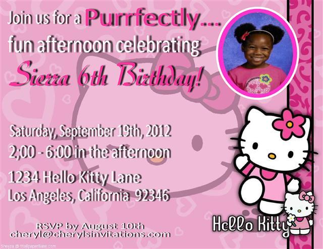 Hello Kitty Birthday Party Invitation Wording Ideas \u2013 FREE