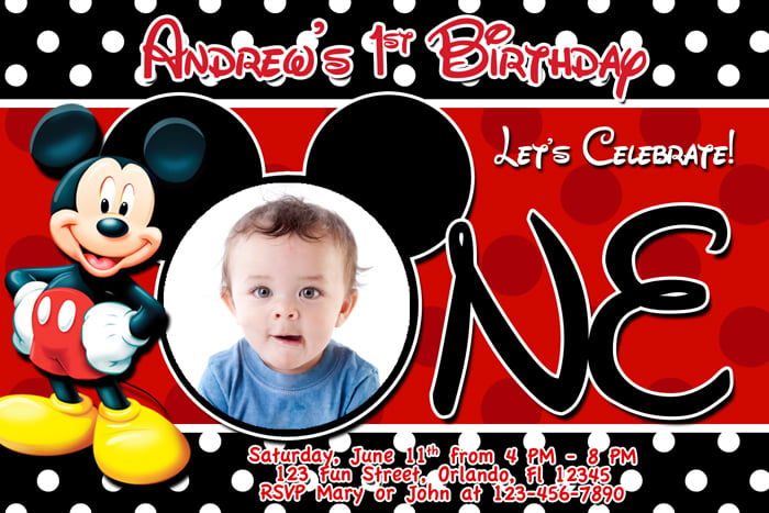 FREE Printable Mickey Mouse 1st Birthday Invitations Template FREE