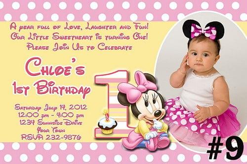 Pretty Minnie Mouse Birthday Invitation Wording Images Minnie - Baby birthday invitation wording ideas
